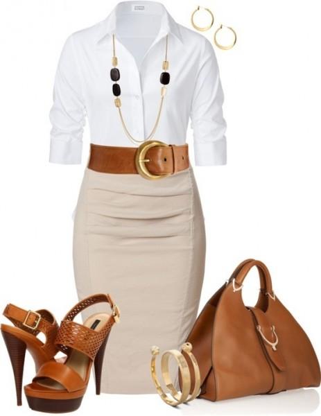 Outfit #1 White Shirt + Khaki Straight Skirt
